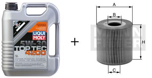 5W-30 Top Tec 4200 Liqui Moly + MANN Ölfilter HU 726/2 x