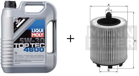5W-30 Top Tec 4600 Liqui Moly + MANN Ölfilter HU 719/7 x