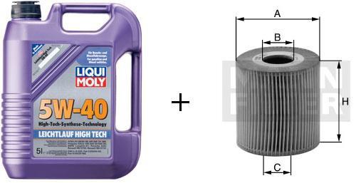 5W-40 Leichtlauf High Tech Liqui Moly + MANN Ölfilter HU 718/1 k