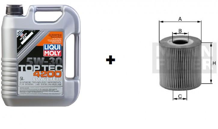 5W-30 Top Tec 4200 Liqui Moly + MANN Ölfilter HU 925/4 x
