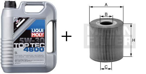 Top Tec 4600 5W-30 Liqui Moly + MANN Ölfilter HU 514 x