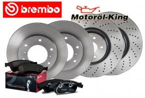 Brembo Bremsscheiben gelocht + Beläge MERCEDES E-KLASSE (W212)(S212) VORNE 322MM + HINTEN 300MM